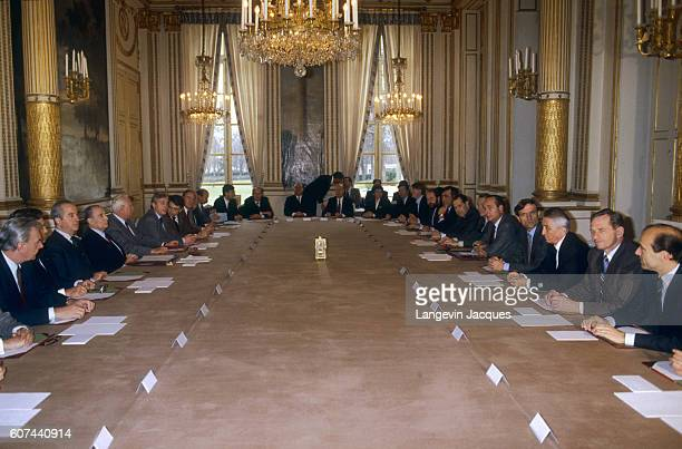 Newly appointed Prime Minister Jacques Chirac meets with his new ministers in Paris for the first ministers' council meeting in 1986 Chirac was named...