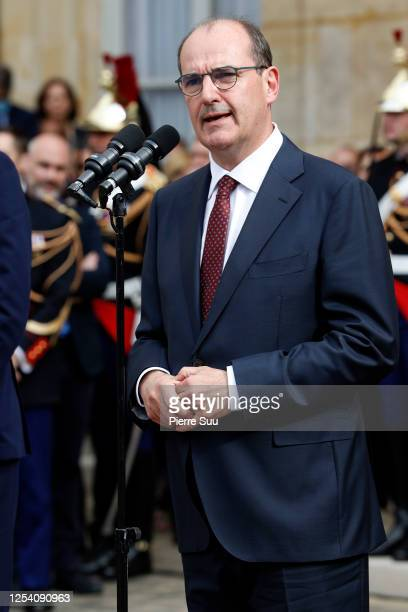 Newly appointed Prime Minister Jean Castex is seen during the transfer of power ceremony with departing Prime Minister Edouard Pilippe at Hotel de...