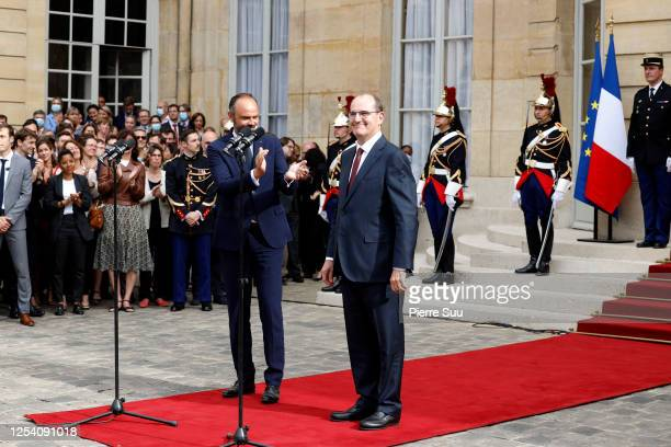 Newly appointed Prime Minister Jean Castex is seen during the transfer of power ceremony with departing Prime Minister Edouard Philippe at Hotel de...