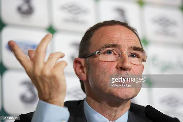 Newly appointed Republic of Ireland manager Martin O'Neill speaks during a press conference at Gibson Hotel on November 09 2013 in Dublin Ireland