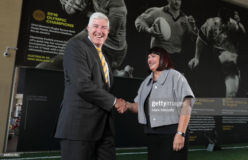Newly appointed Rugby Australia Chief Executive Officer Raelene Castle poses with ARU chairman Cameron Clyne during a press conference at the Rugby Australia Building on December 12, 2017 in Sydney, Australia.
