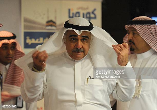Newly appointed Saudi acting Minister of Health Adel bin Mohamed Faqih arrives for a press conference on the Middle East Respiratory Syndrome on...