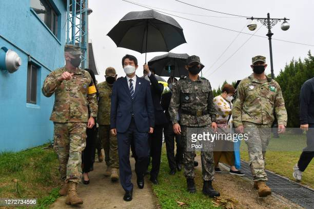 Newly appointed South Korean unification minister Lee Inyoung visit border village of panmunjom between South and North Korea in the demilitarized...