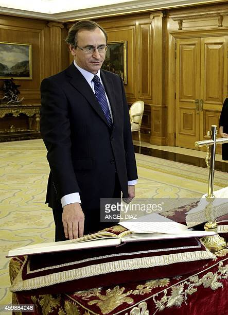 Newly appointed Spanish Health Minister Alfonso Alonso takes an oath as minister at the Zarzuela Palace in Madrid on December 3 2014 Former Spanish...