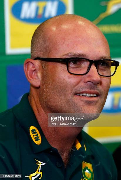 Newly appointed Springboks head coach Jacques Nienaber looks on during a press conference following his announcement as the Springboks head coach at...
