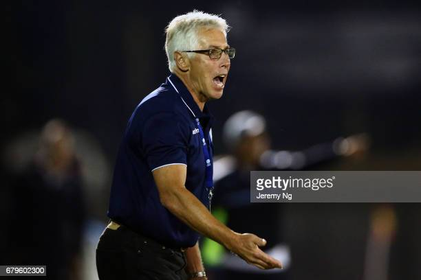 Newly appointed Sutherland Sharks coach and former Socceroo Grant Lee instructs his players during the round nine Men's NSW NPL match between Sydney...