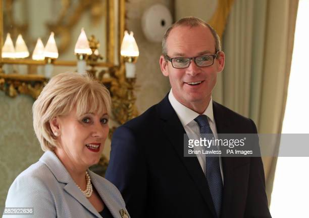 Newly appointed Tanaiste Simon Coveney and Minister for Business Enterprise and Innovation Heather Humphreys at the Aras in Dublin following the...
