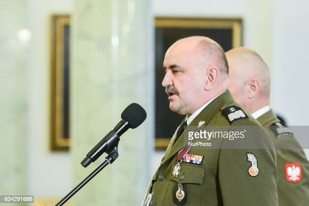 A newly appointed the new Commander of the Armed Forces General Jaroslaw Mice speaks during an Official Ceremony in the Presidential Palace in Warsaw...
