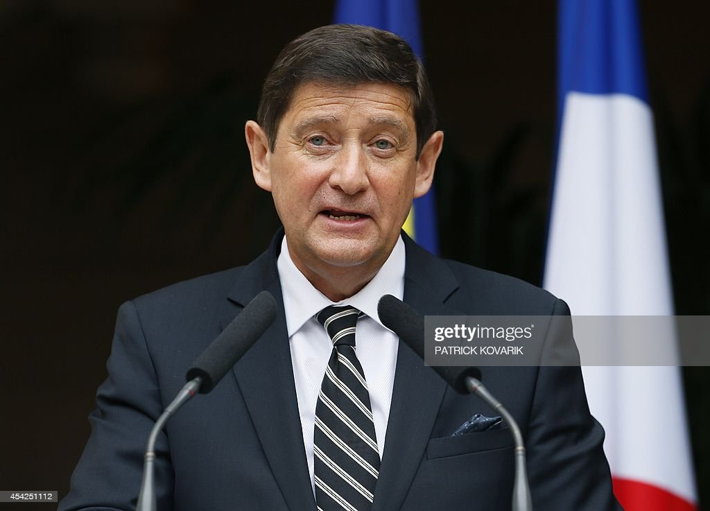 Newly appointed Urban Affairs and Sports Minister Patrick Kanner delivers a speech during a handover ceremony on August 27, 2014 in Paris.