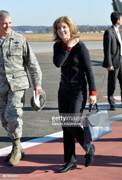 Newly appointed US Ambassador to Japan Caroline Kennedy daughter of slain US President John F Kennedy arrives at Yokota Air Base on November 21 in...