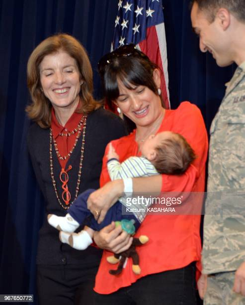 Newly appointed US Ambassador to Japan Caroline Kennedy daughter of slain US President John F Kennedy left chats with US soldier family during her...