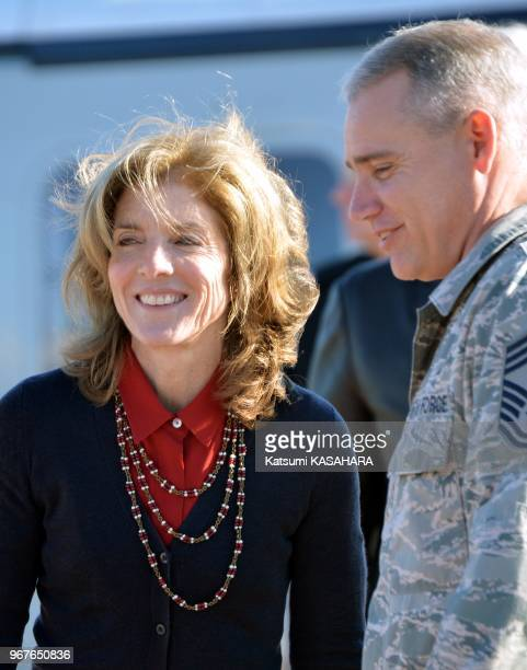 Newly appointed US Ambassador to Japan Caroline Kennedy daughter of slain US President John F Kennedy is welcomed by Salvatore Angelella commandor of...