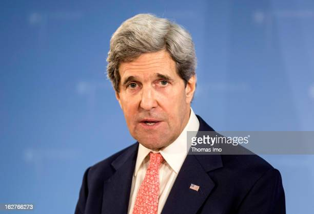Newly appointed U.S. Secretary of State, John Kerry, during a press conference at The Federal Foreign Office on February 26, 2013 in Berlin, Germany....