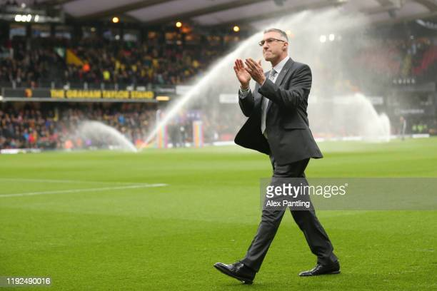 Newly appointed Watford FC manager Nigel Pearson acknowledges the fans as he attends the Premier League match between Watford FC and Crystal Palace...