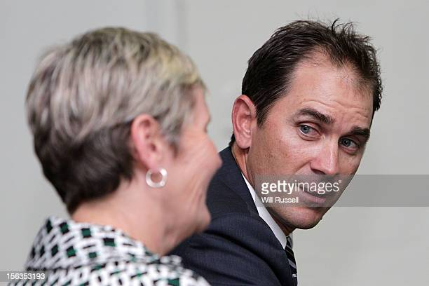 Newly appointed Western Australia Warriors coach Justin Langer and WACA Chief Executive Officer Christina Matthews speak to the media at the WACA on...