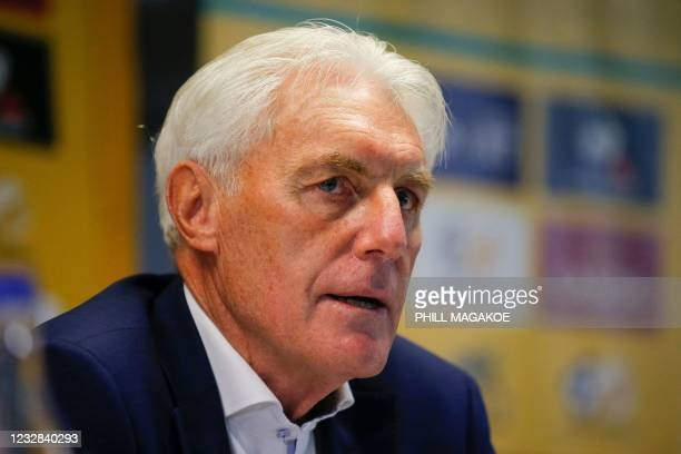 Newly apponted South African national football team head coach Hugo Broos listens to media questions during a press conference at the South African...