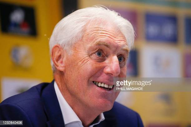Newly apponted South African national football team head coach Hugo Broos conducts a press conference at the South African Football Association House...