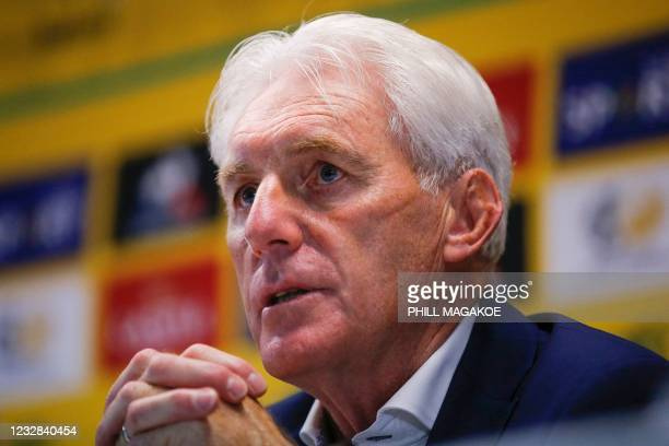 Newly apponted South African national football team head coach Hugo Broos answers media questions during a press conference at the South African...