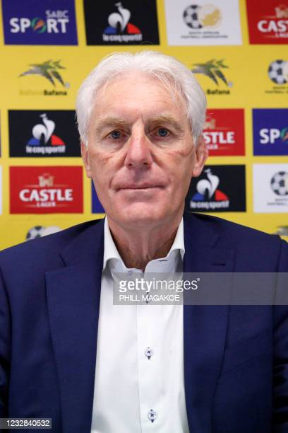 Newly apponted South African national football team head coach Hugo Broos looks on before conducting a press conference at the South African Football...