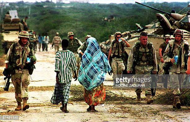 Newly arrived American soldiers prepare to start maneuvers in a field outside Mogadishu 18 October 1993 UN officials said they wanted to open talks...