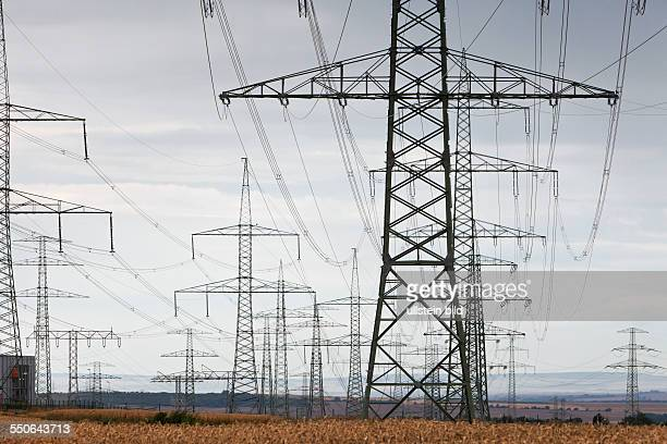 Newly assembled high voltage transmission towers of transmission system operator 50Hertz
