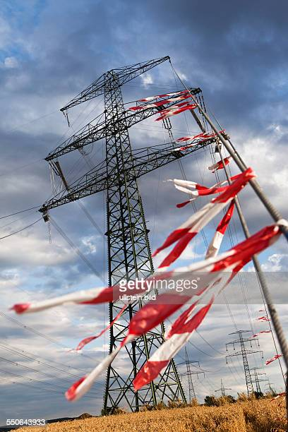 Newly assembled high voltage transmission towers of transmission system operator 50Hertz.