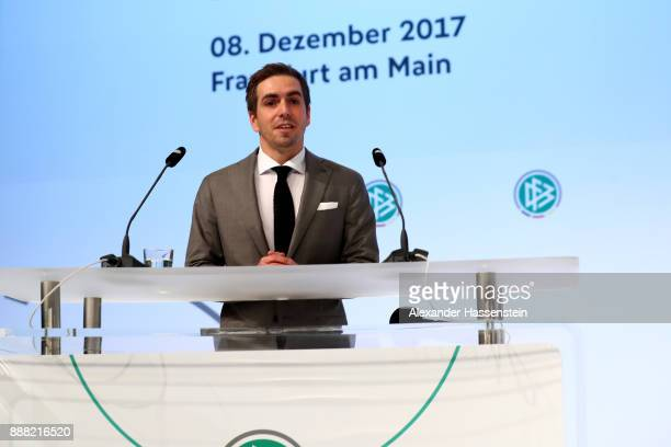 Newly awared honorary captain of the German national team and German UEFA Euro 2024 campaign ambassador Philipp Lahm talks to the audience during the...