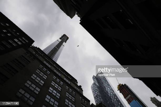Newly built and ultra slim residential towers continue to grow along the New York City skyline on February 13 2019 in New York City A combination of...