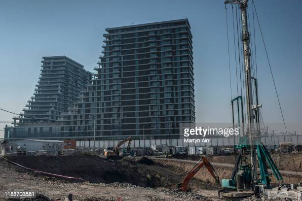 Newly built apartment buildings and continued construction takes place at the Belgrade Waterfront Project on October 22, 2019 in Belgrade, Serbia....