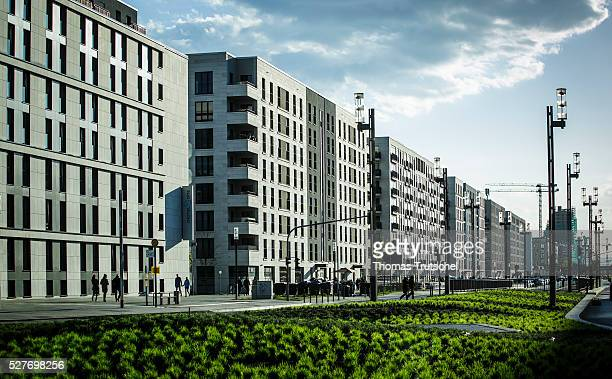 Newly built apartment houses are located by a road on May 03 2016 in Frankfurt Germany