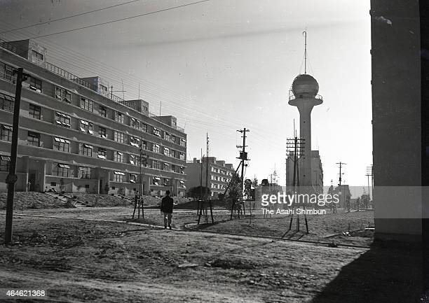 Newly built apartments for iron workers are seen at the Yawata Iron and Steel Yahata ironworks on June 15 1951 in Yahata Fukuoka Japan Iron...