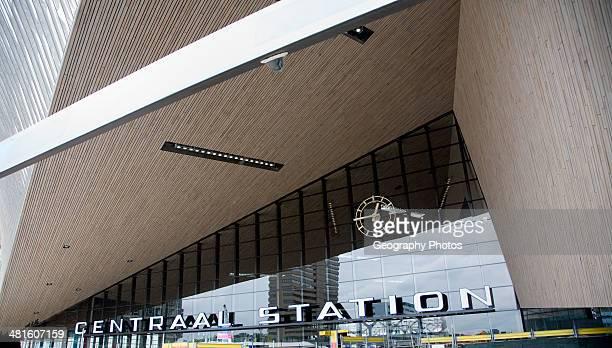 Newly built Centraal Station exterior closeup Rotterdam Netherlands August 2013