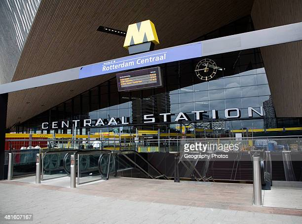Newly built Centraal Station exterior closeup Rotterdam Netherlands August 2013 with escalator to underground metro