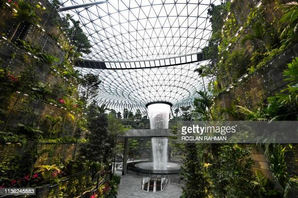 Newly built Changi Jewel complex at the Changi international airport is pictured during a media preview in Singapore on April 11 2019