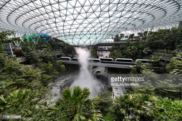 TOPSHOT Newly built Changi Jewel complex at the Changi international airport is pictured during a media preview in Singapore on April 11 2019
