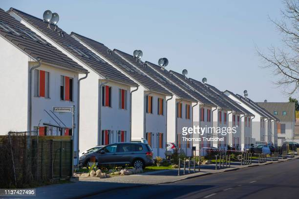 Newly built double houses are located in a settlement on April 15 2019 in Berlin Germany