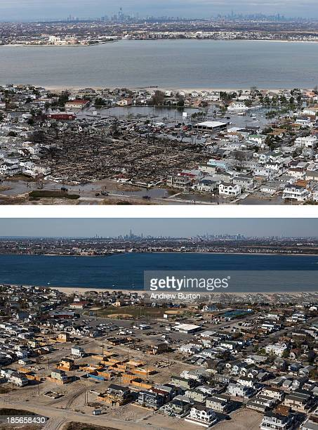 The remains of burned homes are surrounded by water due to Superstorm Sandy in the Breezy Point neighborhood of the Queens borough of New York City...