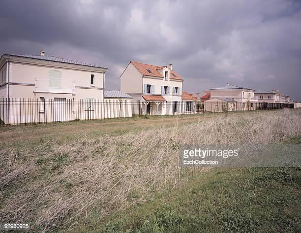 Newly built homes in residential neighborhood.