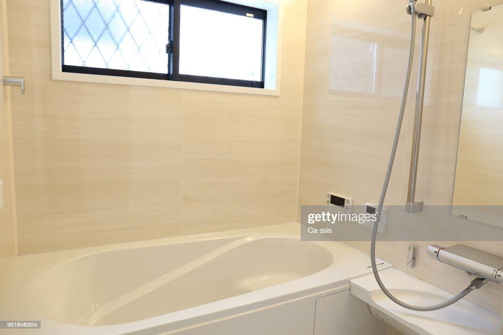Newly built house bathroom : Stock Photo