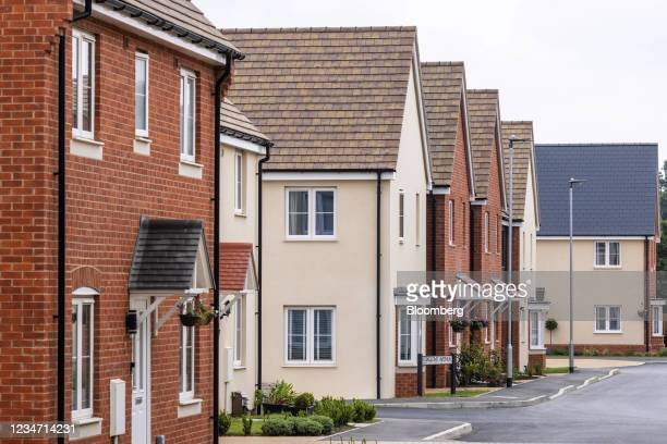 Newly built houses on a Persimmon Plc residential property construction site in Chelmsford, U.K., on Monday, Aug. 16, 2021. Persimmon reports half...