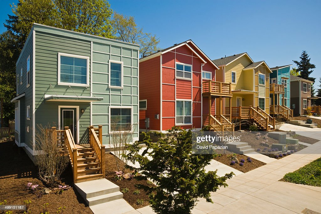 Newly built modern houses : Stock Photo
