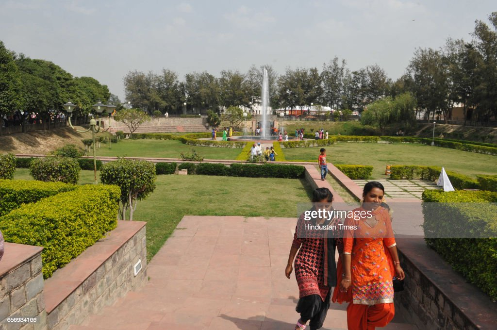 A newly built park for visitors in front of the ancestral house of ShaheedAAzam Bhagat Singh at Khatkar Kalan on March 23 2017 in Jalandhar India The.