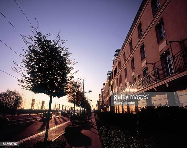 Newly built residential neighborhood in suburban Paris.