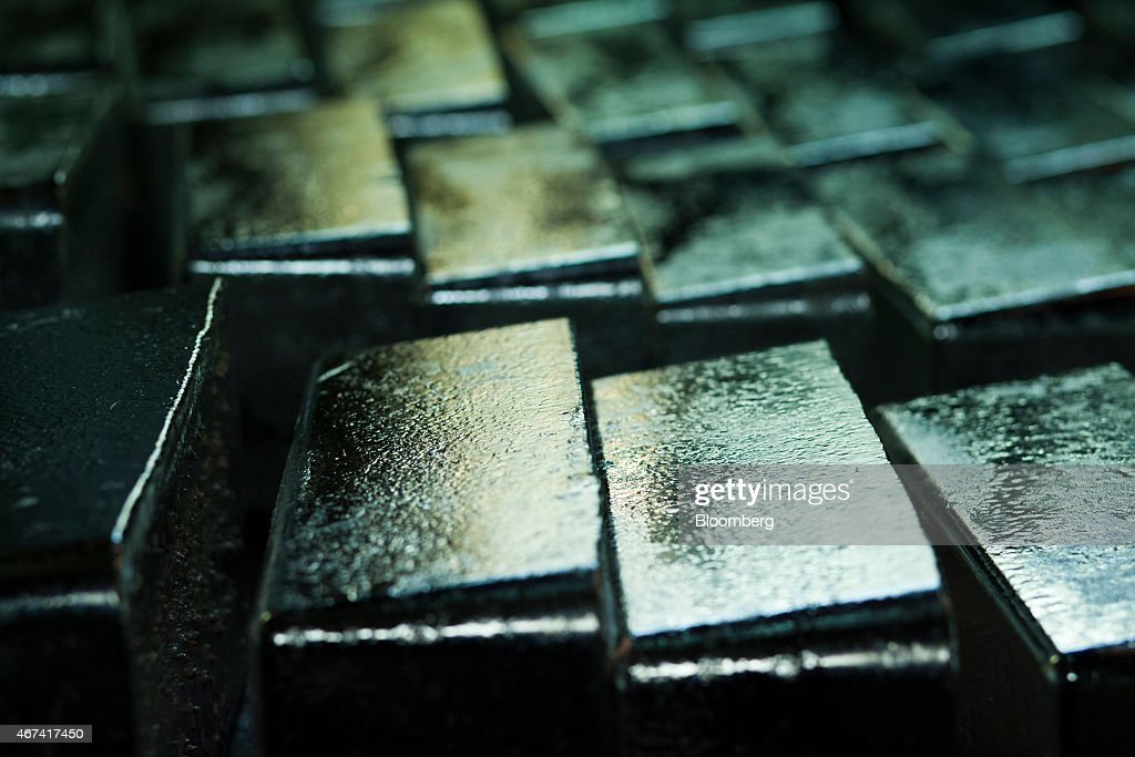 Newly cast silver bullion bars sit ahead of export at the KHGM Polska Miedz SA smelting plant in Glogow, Poland, on Monday, March 23, 2015. KGHM is the world's third-largest silver producer behind Fresnillo Plc and BHP Billiton Ltd. Photographer: Bartek Sadowski/Bloomberg via Getty Images