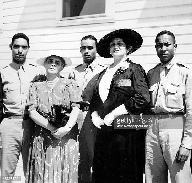 Newly commissioned Tuskegee Airmen with their mothers at graduation Tuskegee Alabama 1942