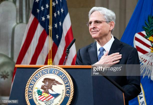 Newly confirmed U.S. Attorney General Merrick Garland addresses the staff on his first day at the Department of Justice March 11, 2021 in Washington,...