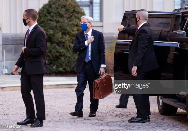 Newly confirmed U.S. Attorney General Merrick Garland arrives for his first day at the Department of Justice March 11, 2021 in Washington, DC....