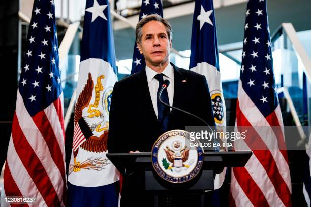 Newly confirmed US Secretary of State Antony Blinken speaks during a welcome ceremony at the State Department in Washington,DC on January 27, 2021.