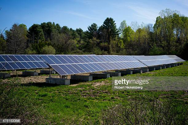 A newly constructed array of photovoltaic panels line a field May 8 2015 in East Charlotte Vermont Vermont has made a concerted effort to be energy...