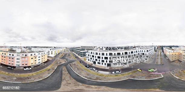 newly constructed buildings 360° aerial spherical hdr panorama - hdri 360 ストックフォトと画像